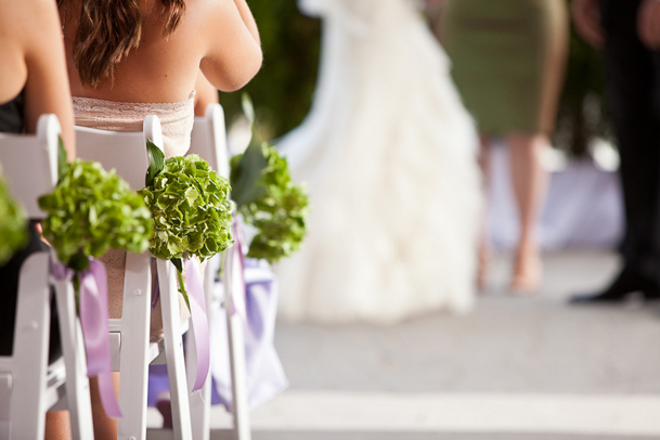 green and purple ceremony chair decor