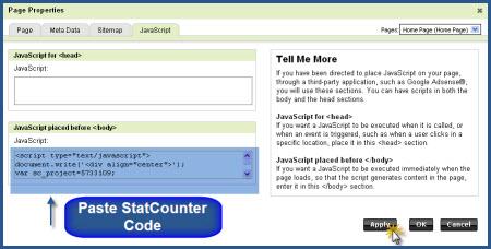 GoDaddy - Paste StatCounter Code