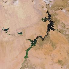 Satellite view of Lake Nasser, Egypt top of photo, and Sudan the lower part.