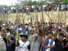 Native people hold spears during a protest in Bagua province, a remote Amazon region of northern Peru, (Source: ONE Sport)