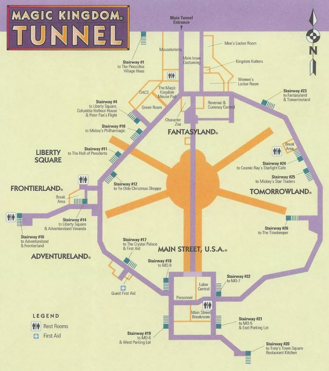 8.) Under the Magic Kingdom there is a secret tunnel system used by cast members and other employees to navigate the park unnoticed.