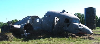 crashed aircraft at the airport