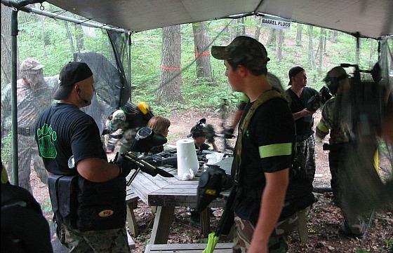 David and Jordan inside the American command tent