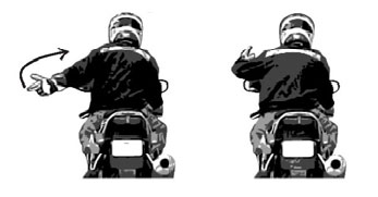 You Lead/Come - Left arm extended upwards 45°, palm forward pointing with index finger, swing in arc from back to front.
