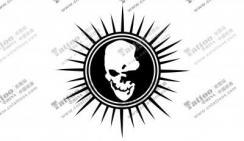 太阳中的骷髅头纹身手稿