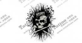 黑灰色骷髅头纹身手稿