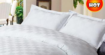 酒店床上用品-纯白九分格被套被罩
