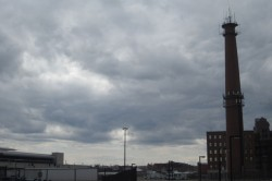 The brooding chimneys, USPS, and industrial space walking up to the Boston Convention Center