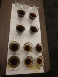 Tasting cups as part of George Howell's sensory lab at CoffeeCON 2013