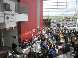 Entrance to CoffeeCON 2013, with Metropolis and Counter Culture Coffee off on the left