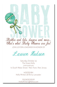 Baby Blue Rattle Boy Shower Invitations