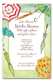 Vintage Umbrellas Shower Invitations