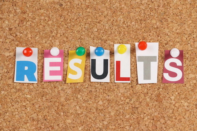 The word Results on a cork notice board