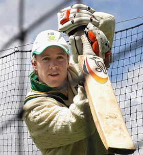 Practising in the nets in his first tour of Australia in 2005/06