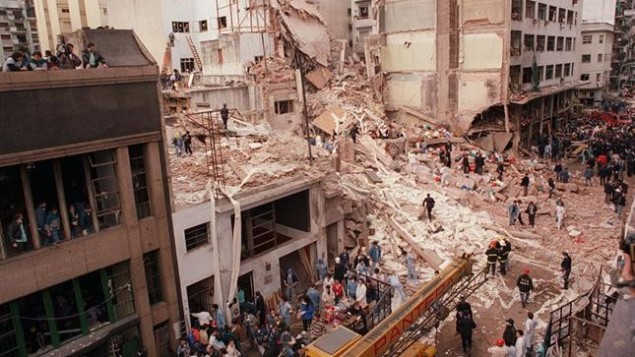 The aftermath of the 1994 AMIA bombing in Buenos Aires, Argentina (La Nación (Argentina)/Wikipedia Commons/File)