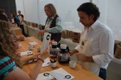 Andy Newbom of Barefoot Roasters, among others, guides patrons through a coffee comparison