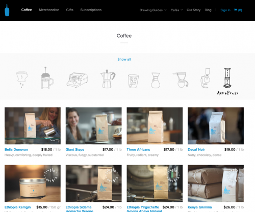 Blue Bottle Coffee's Web site redesign from 2013: so you have an Aeropress...