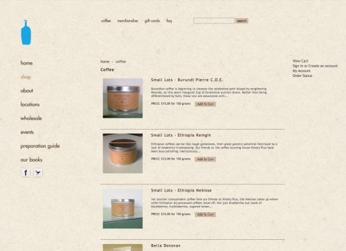 The Blue Bottle Coffee Web site coffee listings circa 2012