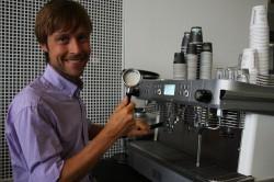 Andrej Godina prepping machines at the Nordic Barista Cup