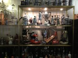 Part of Gran Caffè La Caffettiera's coffeemaker museum on display