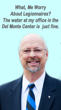 Micheal Moreland VISN 4 Director doesn't need to worry about getting Legionnaires' disease from the Pittsburgh VA, because his office is off campus at the luxurious Del Monte center! More on VAmalpractice.info