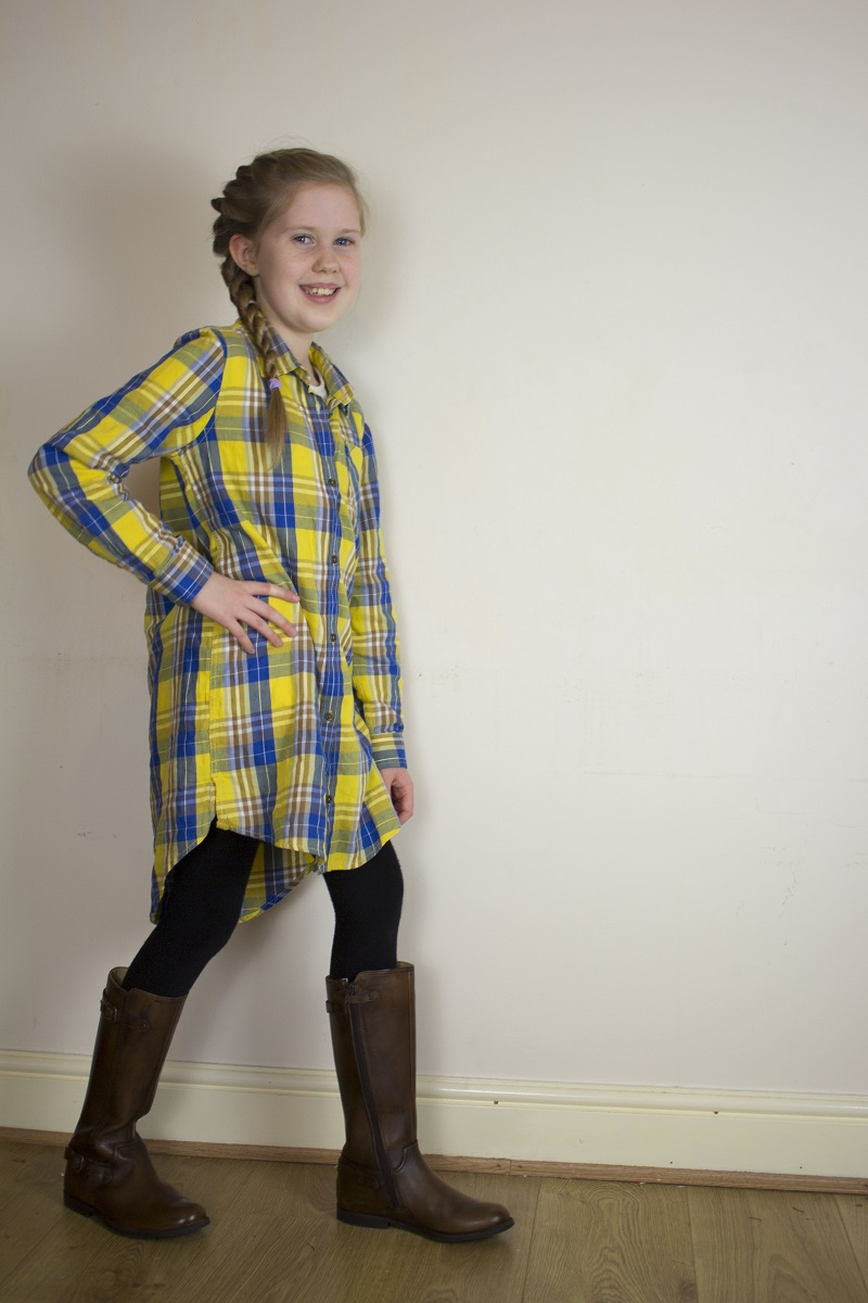 brown tan knee high boots, knee high boots from start-rite, children's fashion, tween fashion, I'm Every Mum, Fashion Friday, Check shirt, Isis Mae, twisted rope braid, parent blogger