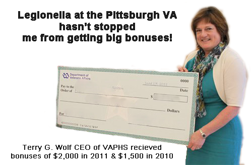 The families of the veterans who died at the Pittsburgh VA were upset to learn at the HVAC hearing just how big the bonus checks were that Pittsburgh VA executives received despite ignoring the outbreak of legionella