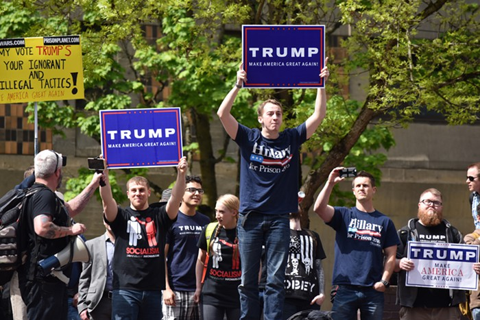 Trump/Infowars supporters reach Urban Center Plaza, where an anti-Trump protest was going on