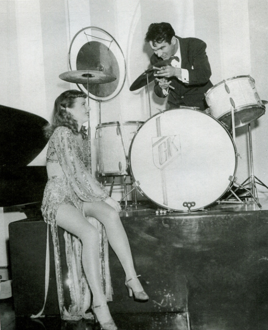A publicity shot for Ball of Fire: Sugarpuss O'Shea with swing superstar Gene Krupa.