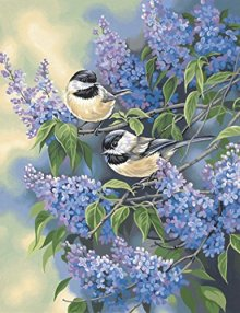 Dimensions-Needlecrafts-Paintworks-Paint-By-Number-Chickadees-Lilacs-0
