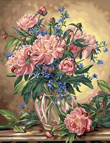 Dimensions-Needlecrafts-Paintworks-Paint-By-Number-Peony-Floral-0