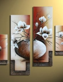 Wieco-Art-4-Piece-Elegant-Flowers-Stretched-and-Framed-Hand-Painted-Modern-Canvas-Wall-Art-0