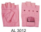 Ladies Pink All leather Fingerless glove