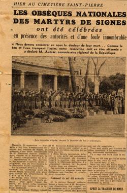 Ancien article de presse sur les fusillés de Signes ville d'oraison en provence