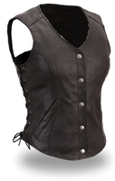 Ladies Leather Long Front Side Lace, Gun Pocket Motorcycle Vest, FIL556T