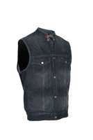 Men's Black Denim Single Panel Concealment Vest