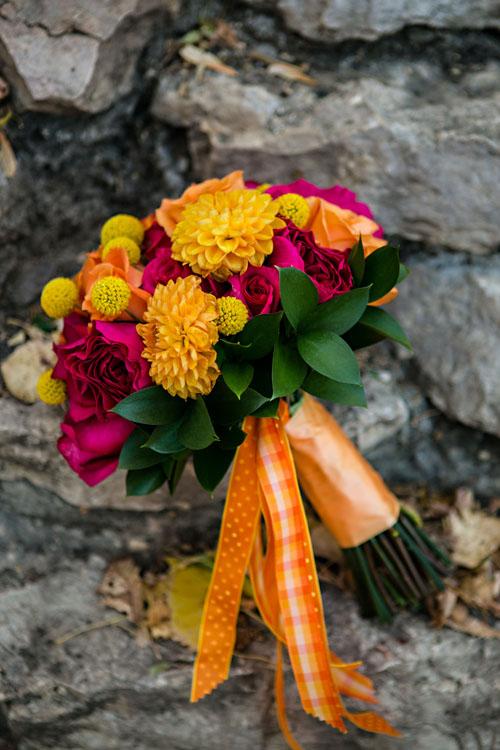 vibrant orange fushia yellow bouquet