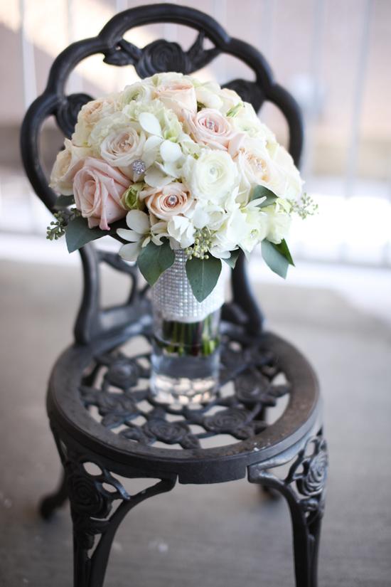 soft vintage white pink bouquet rhinestone wrap