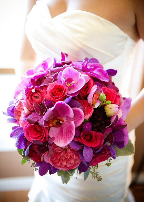vibrant orchid pink red bouquet