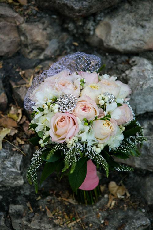 lace brooch bouquet vintage white peach
