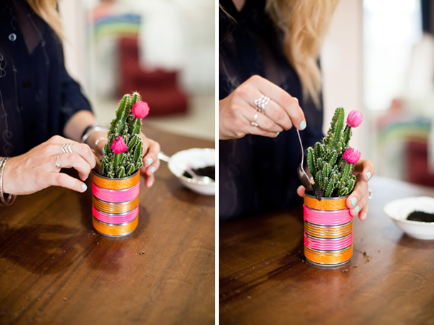 DIY Project: Cactus Place Cards & Favors - DIY cactus neon modern favors seating flag 8