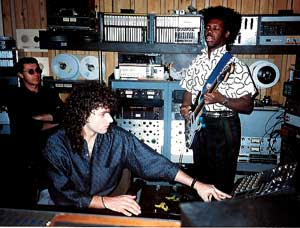 Steve Thompson with Nile Rodgers and Robbie Robertson from the Band 1985 Media Sound