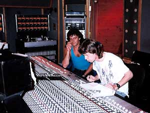 Steve Thompson with Mick Jagger in the studio