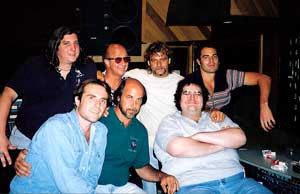 Steve Thompson with members of Blues Traveler with Paul Shaffer early 1990s