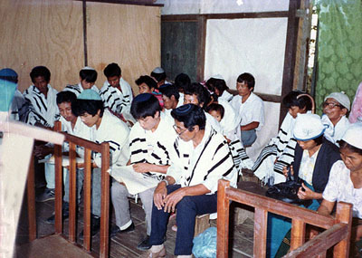 Prayer at the Zion Shalom Synagogue in Aizawl, Mizoram, India, 1989 Photo: Samuel Joram Beit Hatfutsot, the Visual Documentation Center Courtesy of Myer Samra, Australia The Quest for the Ten Lost Tribes of Israel