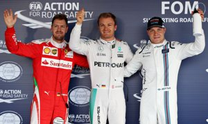 Nico Rosberg, centre, celebrates pole for the Russian F1 GP with Sebastian Vettel, left, the second fastest and Valtteri Bottas, third. Vettel drops down the grid because of a penalty.