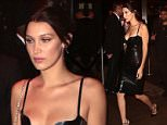 2.May.2016 - New York, NY - USA\n***AVAILABLE FOR UK AND GERMANY SALE ONLY ***\n Bella Hadid and The Weeknd leave the 2016 Met Gala  after party in New York, NY. The 19-year-old model showed off her slender figure in a skin tight black dress.\nBYLINE MUST READ: AKM-GSI-XPOSURE\n***UK CLIENTS - PICTURES CONTAINING CHILDREN PLEASE PIXELATE FACE PRIOR TO PUBLICATION ***\n*UK CLIENTS MUST CALL PRIOR TO TV OR ONLINE USAGE PLEASE TELEPHONE 0208 344 2007*