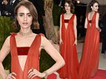 """May 2, 2016 New York City, CA\nLily Collins\nMET Gala 2016 \nCostume Institute Benefit at The Met Celebrates opening of """"Manus x Machina: Fashion in an Age of Technology"""" Exhibition\nheld at the Metropolitan Museum of Art\n©Arroyo-OConnor/AFF-USA.com"""