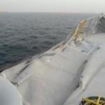 damage to port railings of ship  found during survey