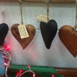 Hanging wooden hearts from £8-£15 by Paul O'Donnell